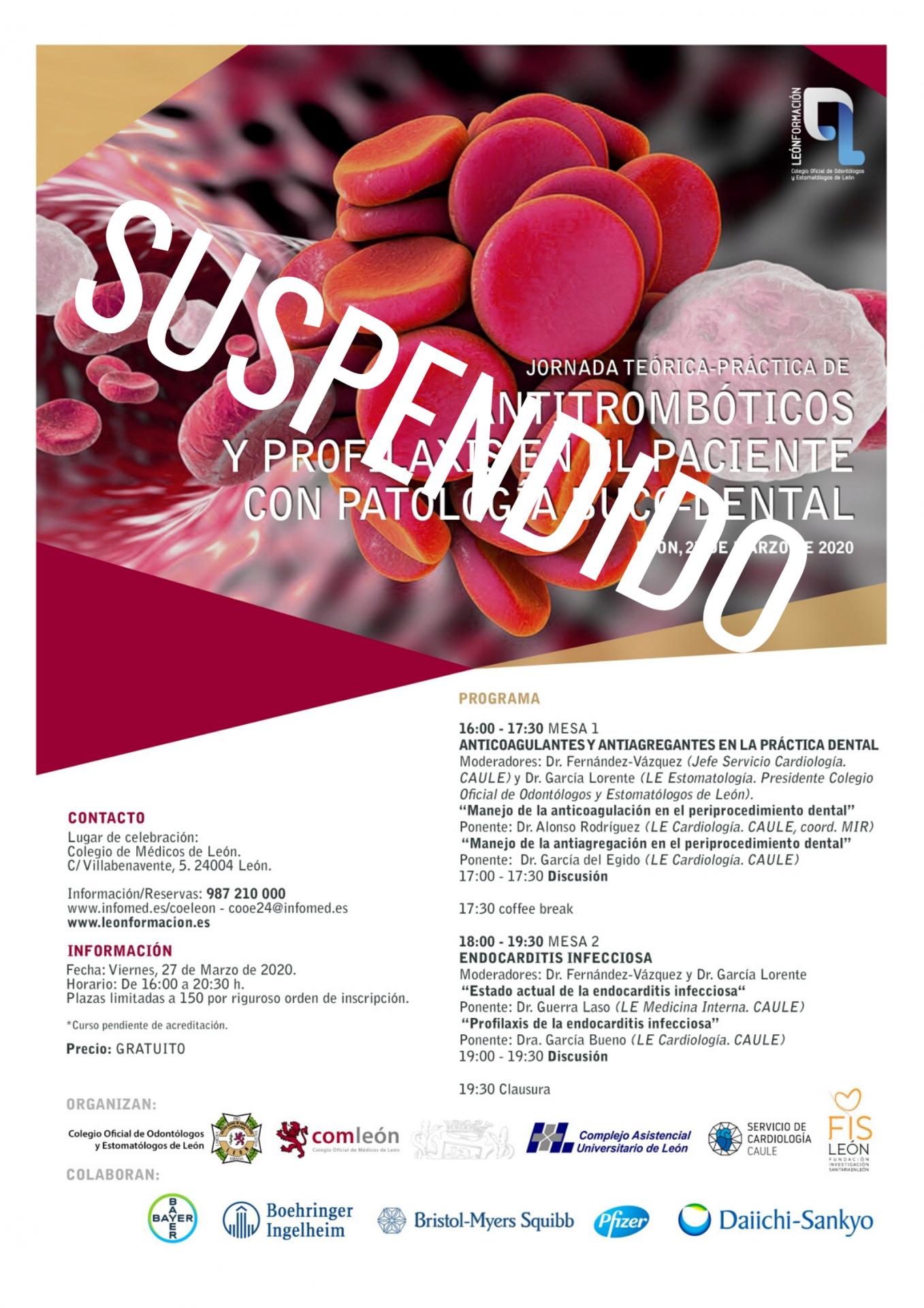 Suspendido temporalmente el Curso 'Antitrombóticos y profilaxis en el paciente con patología bucodental'